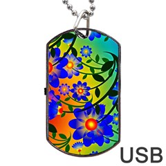Abstract Background Backdrop Design Dog Tag Usb Flash (two Sides) by Amaryn4rt