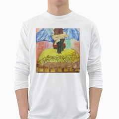 Lunacy Of Spirit White Long Sleeve T Shirts by artsystorebytandeep