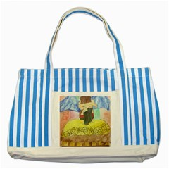Lunacy Of Spirit Striped Blue Tote Bag by artsystorebytandeep