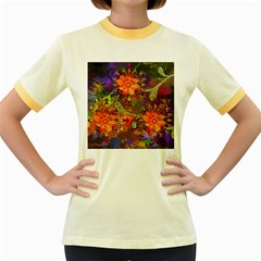 Abstract Flowers Floral Decorative Women s Fitted Ringer T Shirts by Amaryn4rt