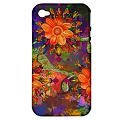 Abstract Flowers Floral Decorative Apple Iphone 4/4s Hardshell Case (pc+silicone) by Amaryn4rt