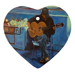 Man And His Guitar Heart Ornament (two Sides) by theunrulyartist