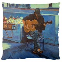 Man And His Guitar Large Flano Cushion Case (one Side) by digitaldivadesigns