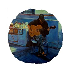 Man And His Guitar Standard 15  Premium Flano Round Cushions by theunrulyartist