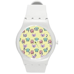 Animals Pastel Children Colorful Round Plastic Sport Watch (m) by Amaryn4rt
