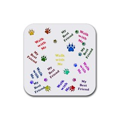 Animals Pets Dogs Paws Colorful Rubber Square Coaster (4 Pack)  by Amaryn4rt