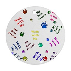 Animals Pets Dogs Paws Colorful Round Ornament (two Sides) by Amaryn4rt