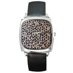 Background Pattern Leopard Square Metal Watch by Amaryn4rt