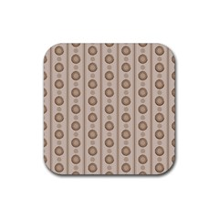 Background Rough Stripes Brown Tan Rubber Square Coaster (4 Pack)  by Amaryn4rt