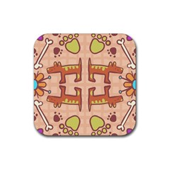 Dog Abstract Background Pattern Design Rubber Square Coaster (4 Pack)  by Amaryn4rt
