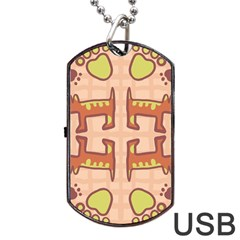 Dog Abstract Background Pattern Design Dog Tag Usb Flash (one Side) by Amaryn4rt