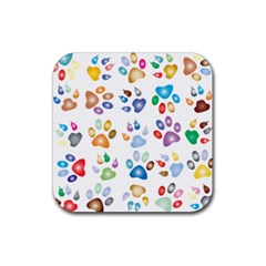 Colorful Prismatic Rainbow Animal Rubber Square Coaster (4 Pack)