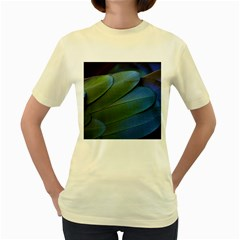 Feather Parrot Colorful Metalic Women s Yellow T Shirt