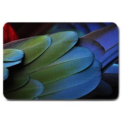 Feather Parrot Colorful Metalic Large Doormat  by Amaryn4rt
