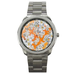 Flowers Background Backdrop Floral Sport Metal Watch by Amaryn4rt