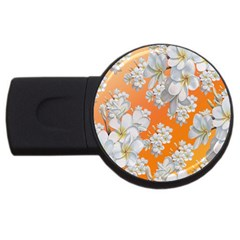 Flowers Background Backdrop Floral Usb Flash Drive Round (4 Gb)