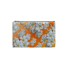 Flowers Background Backdrop Floral Cosmetic Bag (small)