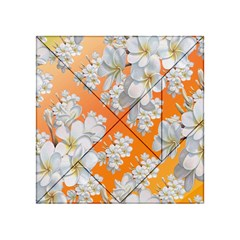 Flowers Background Backdrop Floral Acrylic Tangram Puzzle (4  x 4 )