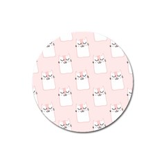 Pattern Cat Pink Cute Sweet Fur Magnet 3  (round) by Amaryn4rt