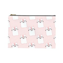 Pattern Cat Pink Cute Sweet Fur Cosmetic Bag (large)  by Amaryn4rt