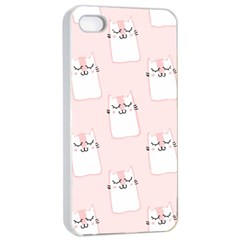 Pattern Cat Pink Cute Sweet Fur Apple Iphone 4/4s Seamless Case (white) by Amaryn4rt