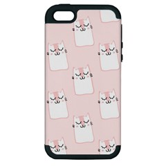 Pattern Cat Pink Cute Sweet Fur Apple Iphone 5 Hardshell Case (pc+silicone)