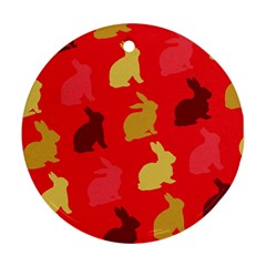 Hare Easter Pattern Animals Ornament (round) by Amaryn4rt