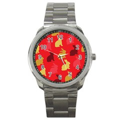 Hare Easter Pattern Animals Sport Metal Watch by Amaryn4rt
