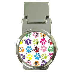 Paw Print Paw Prints Background Money Clip Watches