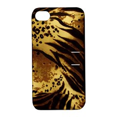 Pattern Tiger Stripes Print Animal Apple Iphone 4/4s Hardshell Case With Stand by Amaryn4rt