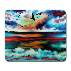 Ocean Waves Birds Colorful Sea Large Mousepads by Amaryn4rt
