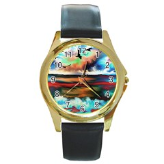 Ocean Waves Birds Colorful Sea Round Gold Metal Watch by Amaryn4rt