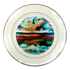 Ocean Waves Birds Colorful Sea Porcelain Plates by Amaryn4rt