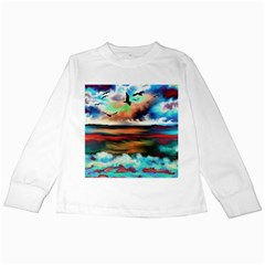 Ocean Waves Birds Colorful Sea Kids Long Sleeve T Shirts by Amaryn4rt