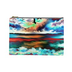 Ocean Waves Birds Colorful Sea Cosmetic Bag (large)  by Amaryn4rt