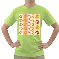 Paw Print Paw Prints Fun Background Green T Shirt