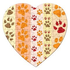 Paw Print Paw Prints Fun Background Jigsaw Puzzle (heart) by Amaryn4rt