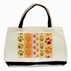 Paw Print Paw Prints Fun Background Basic Tote Bag by Amaryn4rt