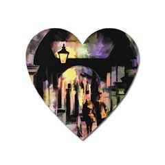 Street Colorful Abstract People Heart Magnet by Amaryn4rt