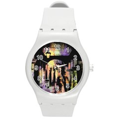 Street Colorful Abstract People Round Plastic Sport Watch (m) by Amaryn4rt