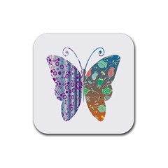Vintage Style Floral Butterfly Rubber Square Coaster (4 Pack)  by Amaryn4rt