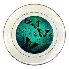 Texture Butterflies Background Porcelain Plates by Amaryn4rt