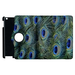 Peacock Feathers Blue Bird Nature Apple Ipad 2 Flip 360 Case by Amaryn4rt