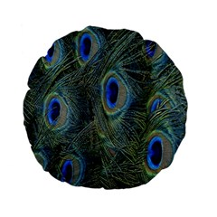 Peacock Feathers Blue Bird Nature Standard 15  Premium Flano Round Cushions by Amaryn4rt