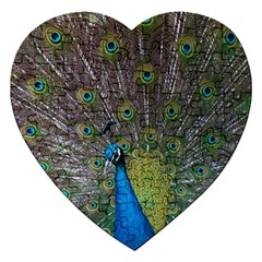 Peacock Feather Beat Rad Blue Jigsaw Puzzle (heart) by Amaryn4rt