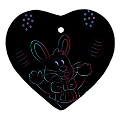 Easter Bunny Hare Rabbit Animal Heart Ornament (two Sides) by Amaryn4rt