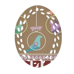 Isolated Wallpaper Bird Sweet Fowl Oval Filigree Ornament (two Sides) by Amaryn4rt