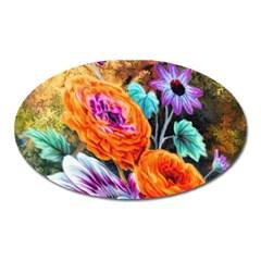 Flowers Artwork Art Digital Art Oval Magnet by Amaryn4rt