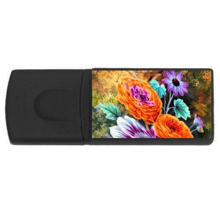 Flowers Artwork Art Digital Art USB Flash Drive Rectangular (4 GB)