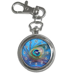 Peacock Feather Blue Green Bright Key Chain Watches by Amaryn4rt